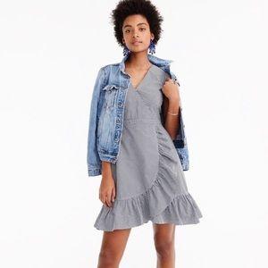 J. Crew faux wrap gingham print dress